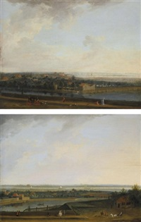 landscapes on the scheldt near antwerp with elegant figures in the foreground (pair) by peter tillemans