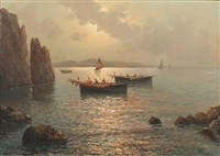 fishing boats off the coast at capri by vincenzo d' auria