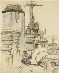 cherbourg, à bord d'un bâtiment militaire by bernard raoul lachevre