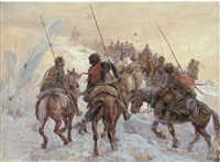 the russian front, a cossack convoy under fire by henry charles seppings wright