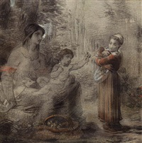 a peasant girl offering flowers to a woman and child by william p. babcock