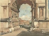 der konstantinsbogen mit durchblick auf das kolosseum by julius jacob the younger