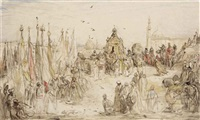 a procession in cairo, egypt by marius bauer