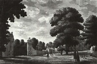 the lion gate, hampton court figures in anitalianate wooded landscape by james spyers