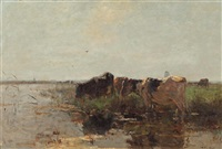 cows grazing near a stream by willem maris
