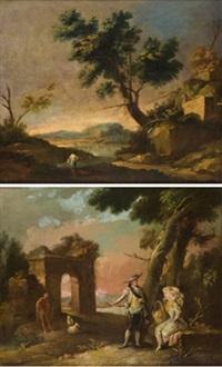 paisaje con pescador (+ paisaje con personajes; pair) by josé camaron y boronat