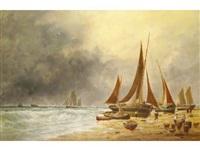 barques de pêche sur la grève by victor charles edouard adam