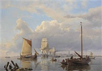 shipping on the scheldt with antwerp in the distance by hermanus koekkoek the elder