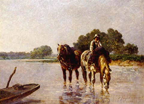 draught horses fording a river by emile jacques