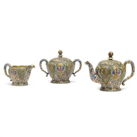 tea set comprising teapot, sugar bowl and creamer (various sizes; set of 3) by nicholai vasil'evich alekseev