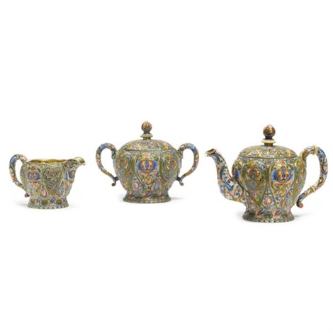 tea set comprising teapot sugar bowl and creamer various sizes set of 3 by nicholai vasilevich alekseev