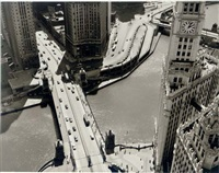 aerial view of the michigan avenue bridge (+ coal town of west virginia; 2 works) by fred korth