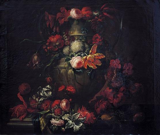 grande urna decorata da rose narcisi tulipani campanule azzurre ed altri fiori by gaspar pieter verbruggen the younger