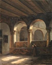 scorcio di monastero con frate by vincenzo abbati