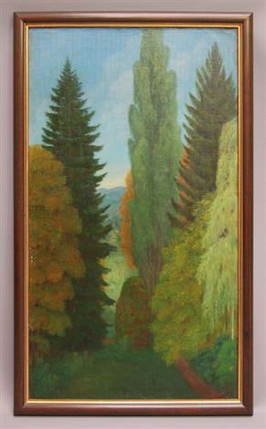 landschaft mit großen bäumen by albinmüller