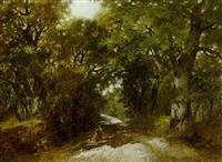 wooded lane, warwickshire by james charles ward