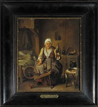 un cordonnier dans son echoppe (+ une fileuse dans un intérieur; pair) by justus juncker