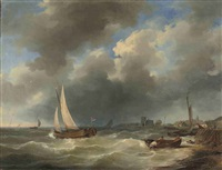 sailing vessels in a stiff breeze by hermanus willem koekkoek