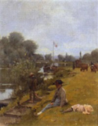 la pêche à bougival by emile-louis foubert