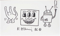 the three eyed smiling face by keith haring