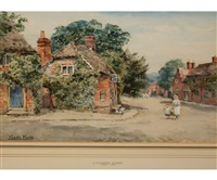 mother and child in village street by henry john yeend king