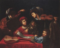 a musical party in an interior by lionello spada