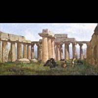 veduta laziale con rovine architettoniche, figura e animali by achille vertunni