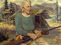 elderly woman with a rifle by harvey goodale