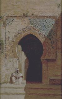 arabo seduto davanti all'ingresso della moschea by roberto guastalla