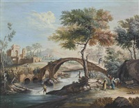 a wooded river landscape with peasants on a track, figures on horseback, a traveler on a bridge and fishermen, a fortified town beyond by diego gaggilli