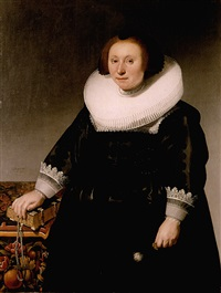 portrait of a lady wearing a black embroidered dress and standing next to a table with her hand on a book by herman mijnerts doncker