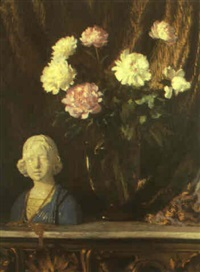 still life with della robbia bust and peonies by ernest lee major