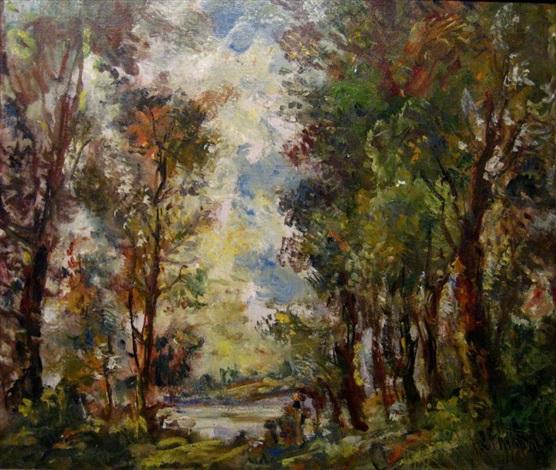 figures in a landscape by lipót herman