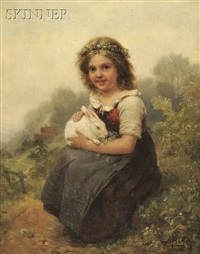 portrait of a young girl seated with a rabbit by karl böker