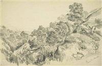 ravin de huechun (sketch) (+ landscape (sketch), smllr; 2 works) by auguste borget
