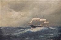 """kreuzerfregatte """"bismarck"""" im indischen ozean by julius huth"""