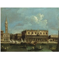 venice, a view of the molo from the bacino di san marco with the doge's palace and the piazzetta by francesco tironi