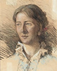 portrait of a young woman by gustaf-oskar björk