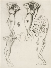 sketches of female nude by walter ufer