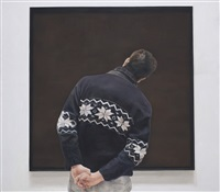 man in a blue sweater and painting painted by annie cabigting