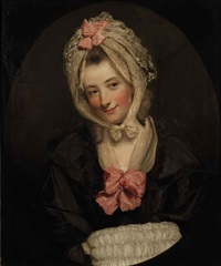 portrait of a lady in a black dress, with lace muff and headdress, decorated with pink bows by rev. matthew william peters
