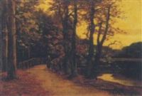 avond aan de vijver: a woman strolling by a lake at dusk by frits mondriaan