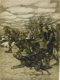 there's where you meet hunters, and trappers for the circuses, prodding along chained bears and muzzled wolves by arthur rackham