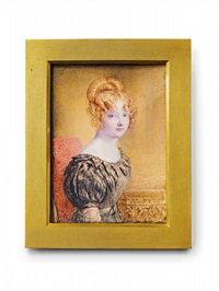 a portrait of a young red haired lady by john linnell