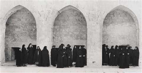 soliloquy series veiled women in three arches by shirin neshat