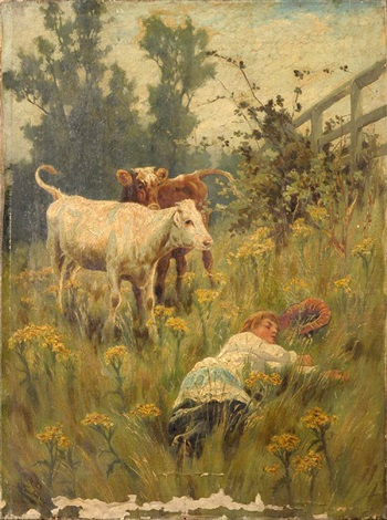 a young farmgirl asleep in a meadow by arthur wardle