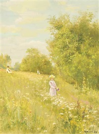 young girl in a summer meadow by sumrev vasily