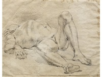 a reclining male nude (recto): seated nude (verso) by guercino