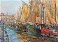 barche al porto di livorno by giovanni campriani