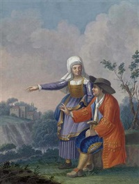 a gentleman and his wife in a landscape by alessandro d' anna